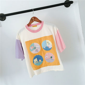 Lovely Soft Patchwork T-shirts [8069797575]