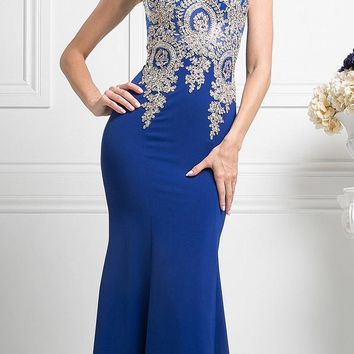 Cinderella Divine 35 Illusion Bateau Neck Embroidered Bodice Royal Floor Length Prom Dress