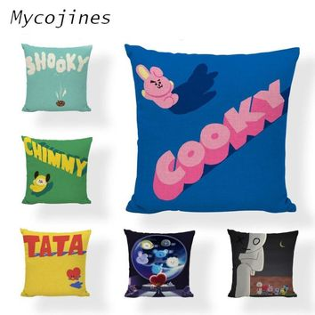 BT21 Cushion Cover Childhood Memories Cute  TATA MANG Linen Car Rear Seat Sofa Floor Home Decorative PillowcaseKawaii Pokemon go  AT_89_9