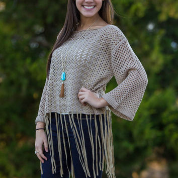 Where We Won't Be Found Sweater Top-Taupe