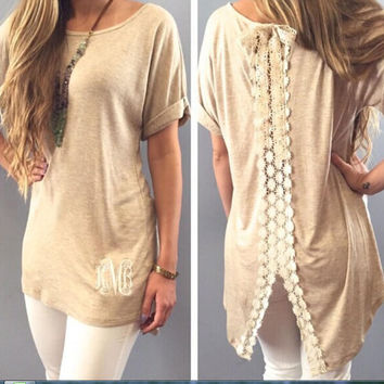 Lace Patchwork Slit Blouse -Back /Beige/Grey