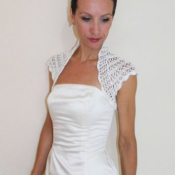 Ivory BRIDAL SHRUG WEDDING bolero lace crochet with 100% cotton yarn in all sizes
