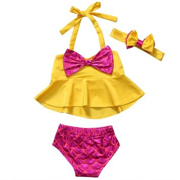 Toddler Kids Baby Girls Tankini Bikini Swimwear Swimsuit Bathing Suit Beachwear 3pcs