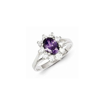 Sterling Silver Purple Oval Cz Cluster Ring, Best Quality Free Gift Box Satisfaction Guaranteed