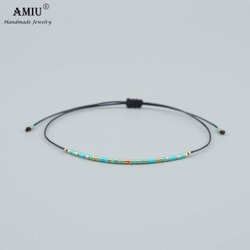 2019 AMIU Handmade Bijoux MIYUKI Seed Bead Bracelet Popular Love Lucky Bracelets & Bangles For Women Men Wax Thread Bracelets