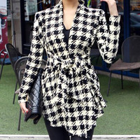 Beige Collarless Long Sleeve Plaid Lace-Up Coat