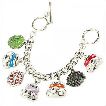 Teenage Mutant Ninja Turtles TMNT Pizza Shell 7 Charm Bracelet Wristband LICENSE