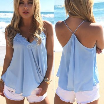 Sleeveless chiffon shirt vest