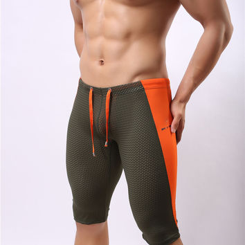 New Brand BRAVE PERSON Mens Sports Fitness Yoga Trousers mesh fifth pants Size S M L XL