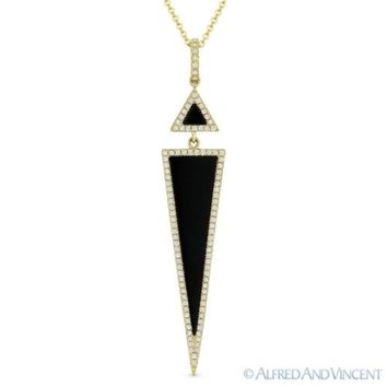 Black Onyx & 0.18ct Round Diamond Pave 14k Yellow Gold Pendant & Chain Necklace