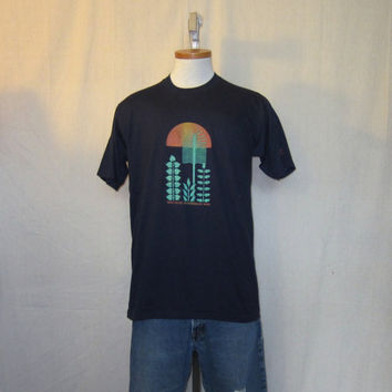 Vintage New Without Tags 1983 NIKE BLOOMSDAY GRAPHIC Rare Run Blue Tag Medium Large Thin Soft 50/50 T-Shirt