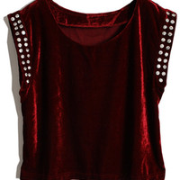 ROMWE | Crystals Sleevless Dark Red Velvet Vest, The Latest Street Fashion