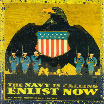 Handmade Recycled Tile Coaster- Vintage Patriotic Military Art - The Navy Is Calling