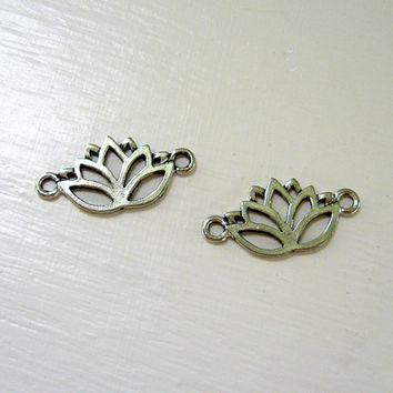 Silver Lotus Charm (2) 30mm Connector Links Pendant Silver Plated Pewter Buddha Zen Findings Wholesale Jewelry Supply CrazyCoolStuff