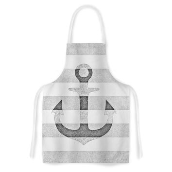 "Monika Strigel ""Stone Vintage Anchor Gray"" White Grey Artistic Apron"