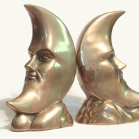Brass Crescent Moon Bookends / Vintage Celestial /  Home Decor / Metal Heavy Weight / Man in the Moon