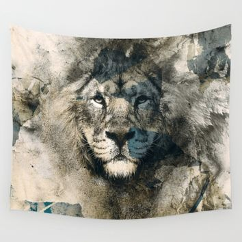 LION CAMOUFLAGE Wall Tapestry by RIZA PEKER