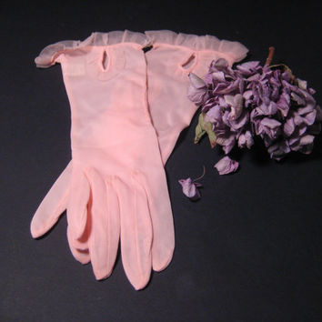 Sheer Pink Nylon Gloves Feminine Lace Trim Vintage - New Gloves Kayser 100% Nylon