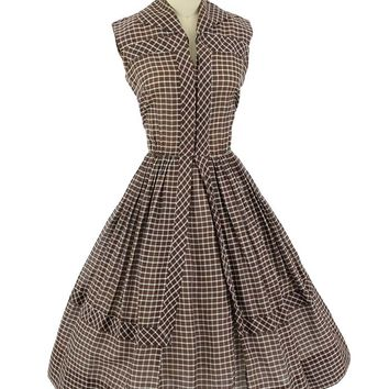 50s Brown White Check Full Skirt Dress