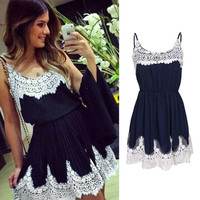 Summer Sexy Women Casual Spaghetti Strap White Lace Patchwork Dark Navy Chiffon Evening Party Cocktail Short Mini Dress