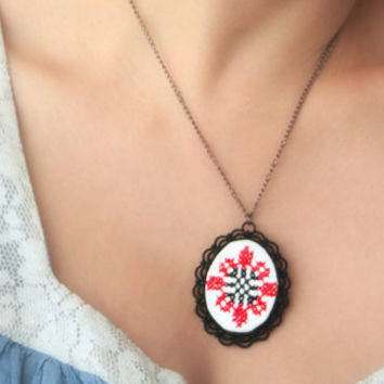Ethnic Stitched Necklace * Black and Red * Embroidered Necklace * Textile Jewelry * Cross Stitch* Stitch necklace * Sewn * Pendant * Gift