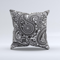 Black and White Paisley Pattern V6 ink-Fuzed Decorative Throw Pillow