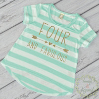 Kids Birthday Shirt Girl Fourth Birthday Shirt 4th Birthday Shirt Four and Fabulous Trendy Kids Clothes Toddler Style 182