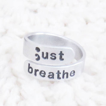 Handmade just breathe jewelry - Suicide prevention depression awareness reminder ring - Recovery motivational gift