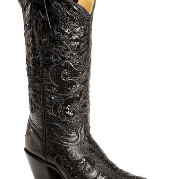 Corral Women's Sequin Inlay Cowgirl Boot Pointed Toe - A1070