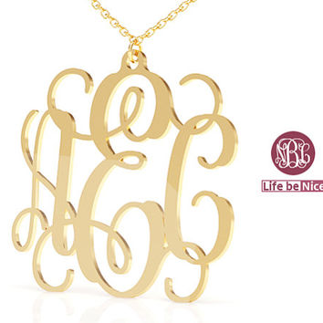 """18k Gold Plated Necklace name  initials Necklace  Gold Monogram Necklace 1.25"""" hand made Personalized Monogram  initials"""