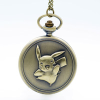 Big Size Pikachu Pokemon Bronze Quartz Pocket Watch Mens Womens Necklace Pendant Analog Watch Gift Kids Toy Ball Pokemon Ball