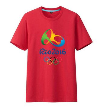 Commemorative Tees Rio 2016 Olympic Games Round Neck T-Shirt-Medium Red