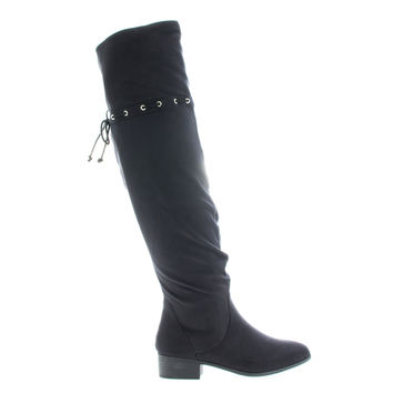 Oneway Black F-Suede by City Classified, Black Suede OTK Over The Knee Slouchy Western Inspired Boots w Interlacing Closure