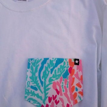 Let's Cha Cha Long Sleeve GTees Lilly Pulitzer Pocket Tee