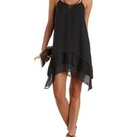 Black Layered Chiffon & Lace Strappy Shift Dress by Charlotte Russe