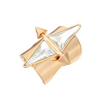 Gold Double Stone Tube Ring