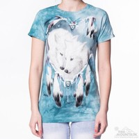 WOLF HEART Womens T-Shirt Native American Dreamcatcher White Wolves Tee Top NEW!