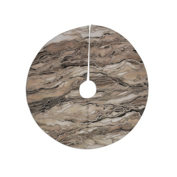 "Ebi Emporium ""Marble Idea, Rustic Elements"" Brown Beige Watercolor Christmas Tree Skirt"