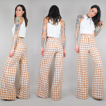 70's Gingham PLAID Bell Bottoms
