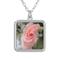 Pink Rose Photo Silver Plated Necklace