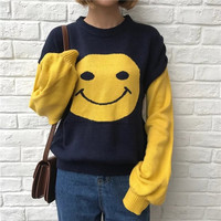 New Arrival Women Autumn Sweater Cute Long Sleeve Thick Knitted Pullovers Casual Patchwork Color O-Neck Sweaters ADGL598-1123
