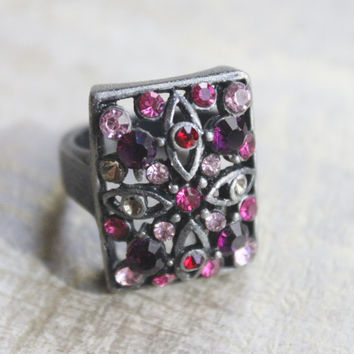 Vintage Rock-n Roll Cocktail Ring- Fuchsia PInk Rhinestones-Antiqued Silver-Size 7 3/4-8 --POP VINTAGE