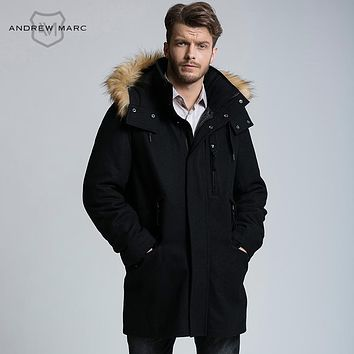MARC NEW YORK ANDREW MARC 2016 New Business Men Wool Blend Jacket Coat Gentleman Winter Overcoat S-XXL TM6AW202