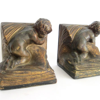 Pair of 1920s Bronze Clad Decorative Bookends by A Johnson