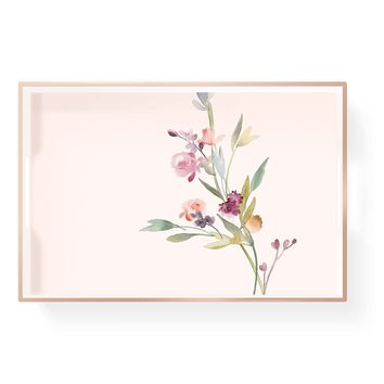 Garland Floral Pink Lacquer Tray with Gold Accents