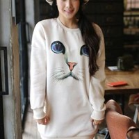 $ 13.79 White Cat Pattern Long Sleeve Round Neck Hoody