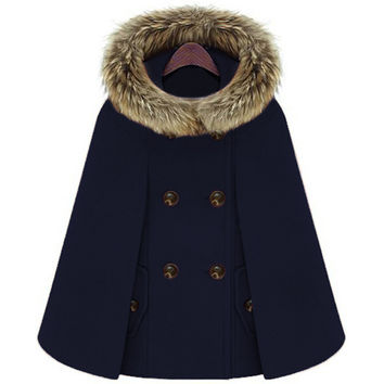 Double Breasted Faux Fur Hooded Cloak Coat