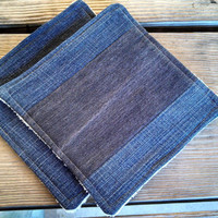 Set of 2 Hot Pads/ Pot Holders / Upcycled Denim / Plush ORGANIC Terry Cloth / Eco Friendly Gift