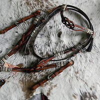 Medium Oil Infinity Knot Browband Leather Headstall & Breast Collar Set New Tack