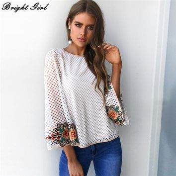 BRIGHT GIRL Embroidery Blouse Women Casual Lace White Blouse Shirt Fashion Long Sleeve Blouse Loose Mesh Women Tops 2017 New